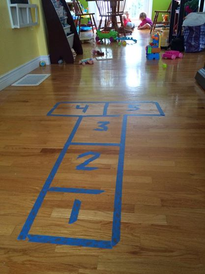 hopscotch diy tape toddler bored winter
